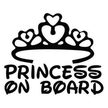 50% HOT SALES!!!New Arrival Fashion Princess On Board Print Window Bumper Car Safety Warning Sticker Decal image