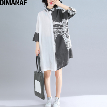 DIMANAF Summer Blouse Shirts Women Clothing Oversize Vinatge Print Spliced Lady Tops Tunic Casual Loose Clothing Button Cardigan blouse tunic kids clothes children clothing