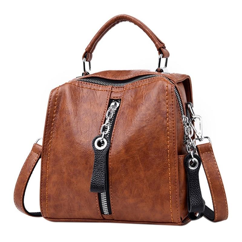 ABZC-Leather Handbags Women Bags Fashion Shoulder Crossbody Bag For Women Multifunction Bag Big Tote