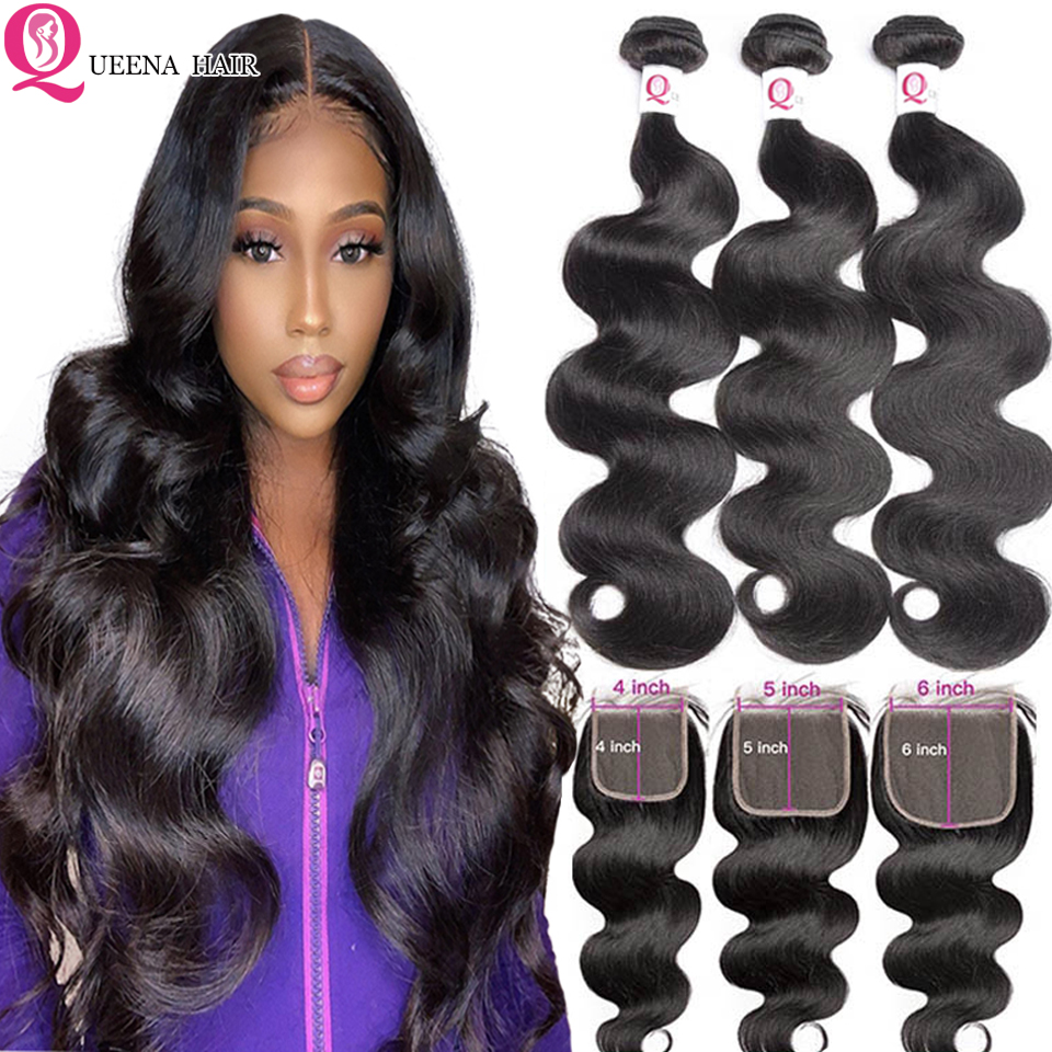 Body Wave Bundles With 5x5 Closure Double Weft Remy Braziilan Human Hair Weave Bundles With 6x6 Lace Closure And 3 Bundles Remy