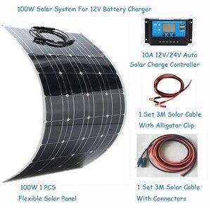 Image 1 - ソーラーパネル100ワットソーラーパネルシステムキット柔軟なソーラーパネル1 * 10Aソーラーコントローラ1セット3メートルケーブルは中国製rv/ボート