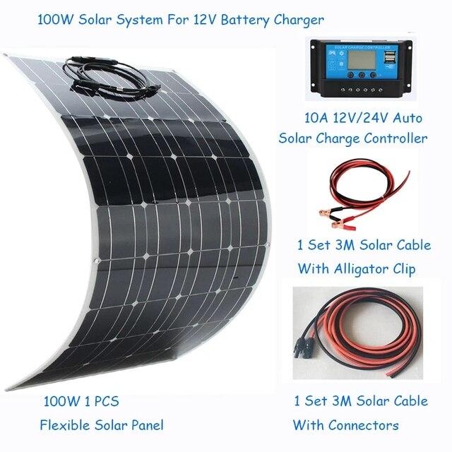 ソーラーパネル100ワットソーラーパネルシステムキット柔軟なソーラーパネル1 * 10Aソーラーコントローラ1セット3メートルケーブルは中国製rv/ボート