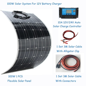 Image 1 - Solar panel 100W Solar Panel System Kits flexible solar panel 1*10A solar controller 1 set 3M cable made in China for RV/boat