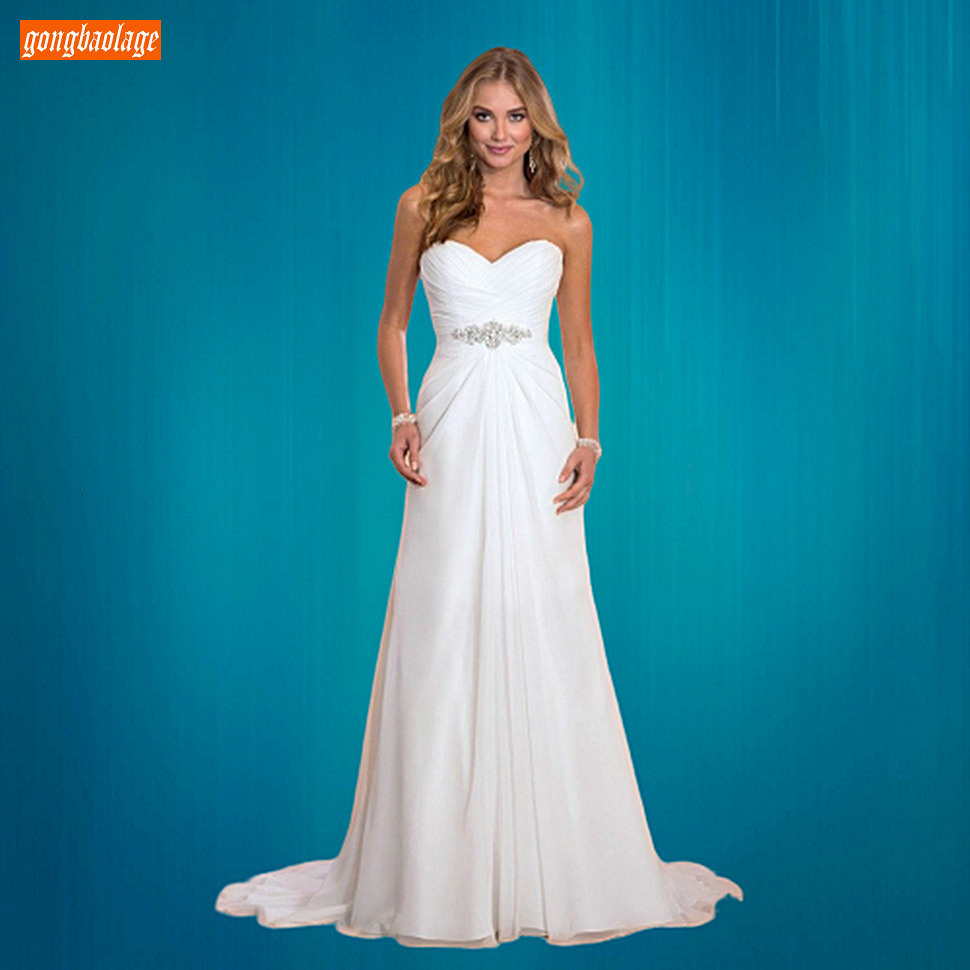 Charming Boho White Evening Dresses Sweetheart Crystal Chiffon Pleat A  Line Evening Gowns Lace Up Sleeveless Women Formal Dress