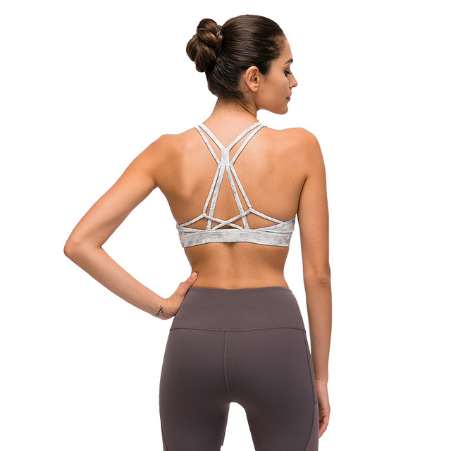 Nepoagym FLY Naked Feel Women Sports Bras Cross Back Yoga Bra Medium Support Push Up Workout