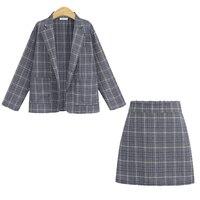 Women Suit with Skirt Elegant Office Ladies Uniform Plaid Blazer Long Sleeve Retro Suits Coat Pockets Jackets Formal Skirt Set