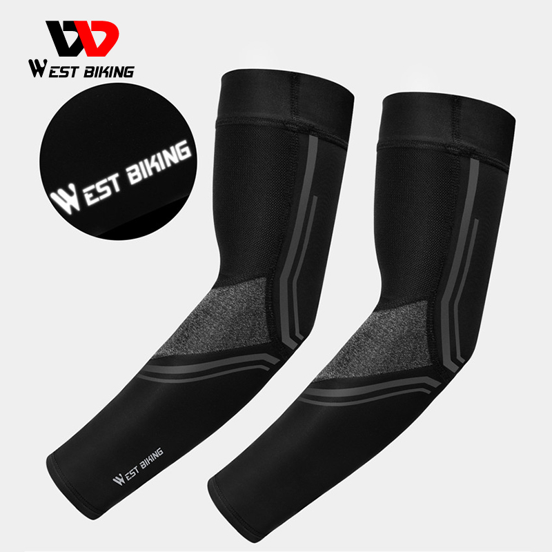 WEST BIKING Bicycle Arm Sleeves Anti-UV Cycling Ice Silk Sleeve Summer Breathable Sun Protection Sports Running Arm Cover 1 Pair