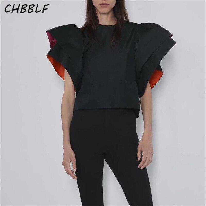 CHBBLF women elegant short sleeve blouse double layered puff sleeve o neck shirt female stylish tops blusa BGB9465