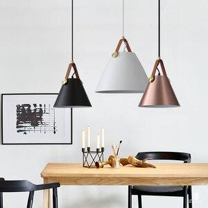 Image 1 - Modern Leather Hanging Lights Norlux Fancy Europe Pendant Lamp LED Aluminum Fixture Home Decoration Dinning Table Bar Bedroom