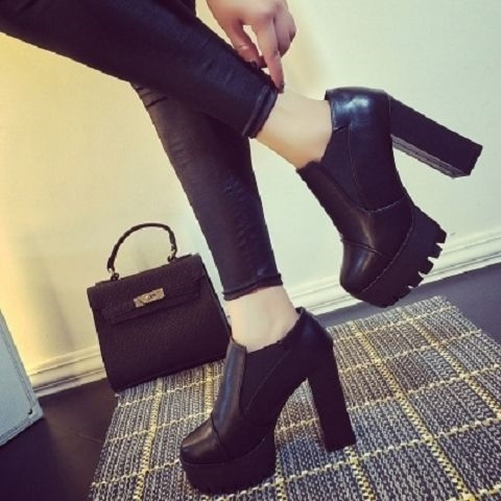 Image 4 - Women Black super high heel women thick with autumn winter 2019 new and bare boots womens shoes with short boots single shoesAnkle Boots   -
