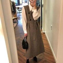Женский комплект из 2 предметов, Осенние блузки с длинным рукавом и отложным воротником, винтажные блузки без рукавов на пуговицах, длинное клетчатое платье