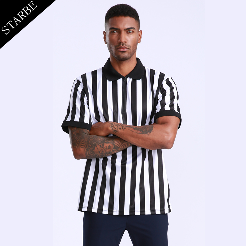 Men Professional Black White Stripes Breathable Basketball Referee Shirt