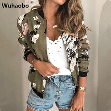 Wuhaobo Fashion Retro Floral Print Women Coat Casual Zipper Up Bomber Jacket Lad