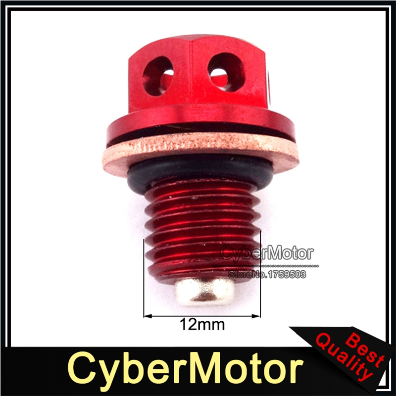 Red <font><b>Engine</b></font> Oil Magnetic Drain Bolt Plug For Chinese 50cc 90cc 110 125 140 150 <font><b>160cc</b></font> <font><b>Lifan</b></font> YX Zongshen Loncin Pit Dirt Motor Bike image