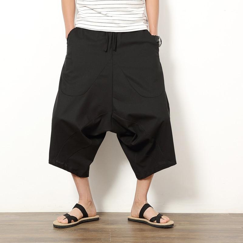 2019 Summer New Cotton Linen Shorts Loose Men's Casual Shorts Black Drawstring Waist Bermuda Shorts Men Plus Size 5XL Holiday