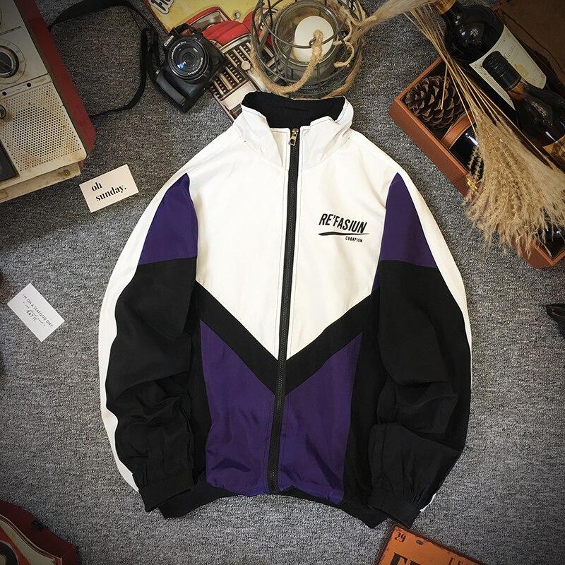 Casual Jackets Men Streetwear Full Zip Baseball Color Block Bomber Track Jacket Sport Wndbreaker Coat For Man 2019 Autumn Winter