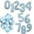 40 дюймовые воздушные шары из фольги с голубым номером, большие 0, 1, 2, 3, 4, 5, 6, 7, 8, 9, с днем рождения, свадебные украшения, 18 лет, товары для воздуш...