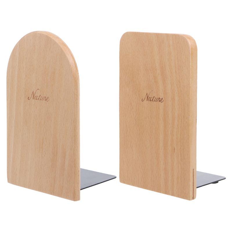 Nature Wooden Desktop Organizer Desktop Office Home Bookends Anti-skid Book Ends Stand Holder Shelf