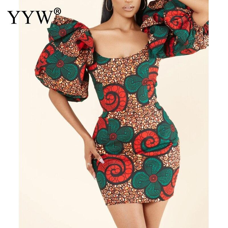 2021 Vintage Women Lantern Sleeve Short Evening Dress Designer Fashion Bodycon Evening Party Mini Dresses Femme Vestidos