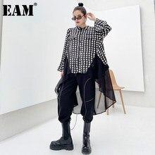 [EAM] femmes en mousseline de soie impression grande taille longue Blouse noire nouveau revers à manches longues coupe ample chemise mode printemps automne 2021 1DD4655