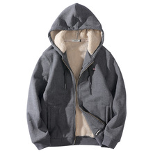 8XL Winter Thick Fleece Men Sport Coat Outwear Lamb Velvet Warm Hoodie Jacket Sweatshirt Casual Jogger Running Workout