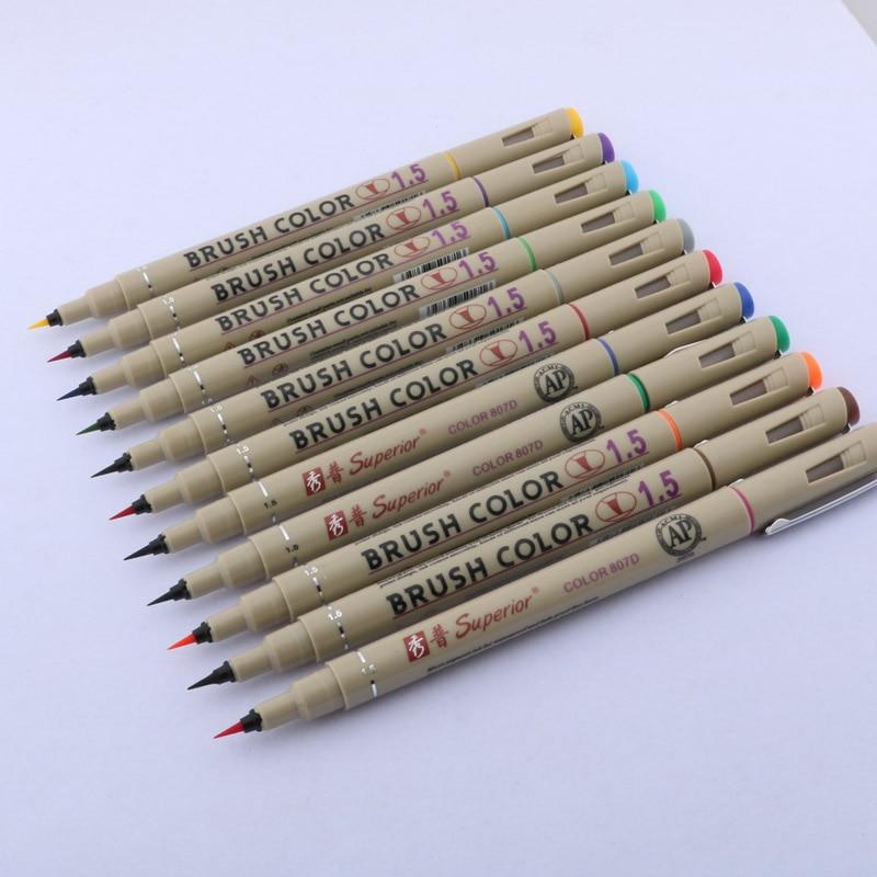 1pc cor diferente superior 1.5mm desenho escova caneta pintura marcadores de arte artigos de papelaria arte suprimentos marcador caneta caligrafia