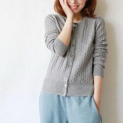 2019 envío gratis nuevo suéter de cachemira pura de lana de cuello redondo para mujer cárdigan Otoño Invierno suéter cárdigan suéter abrigo de mujer