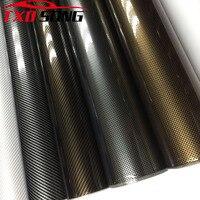 1.52*5M/10M/15M/20M/30M Ultra Gloss GOLD BLACK TWILL 2D Carbon Fiber Vinyl Wrap 2D Texture Super Glossy 2D Carbon FIBER STICKER