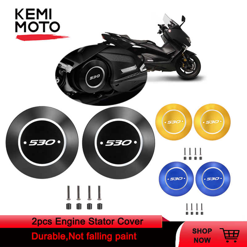 For TMAX530 TMAX 530 2017 2018 2pcs Motorcycle CNC Engine Stator Cover Engine Guard Protector For YAMAHA TMAX 530  T MAX 530-in Covers & Ornamental Mouldings from Automobiles & Motorcycles