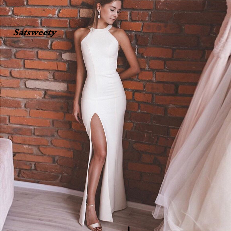 Simple Wedding Dress Sleeveless Halter Neck Backless Sexy Front Split Robe De Mariee Custom Made White Ivory Satin Bridal Dress