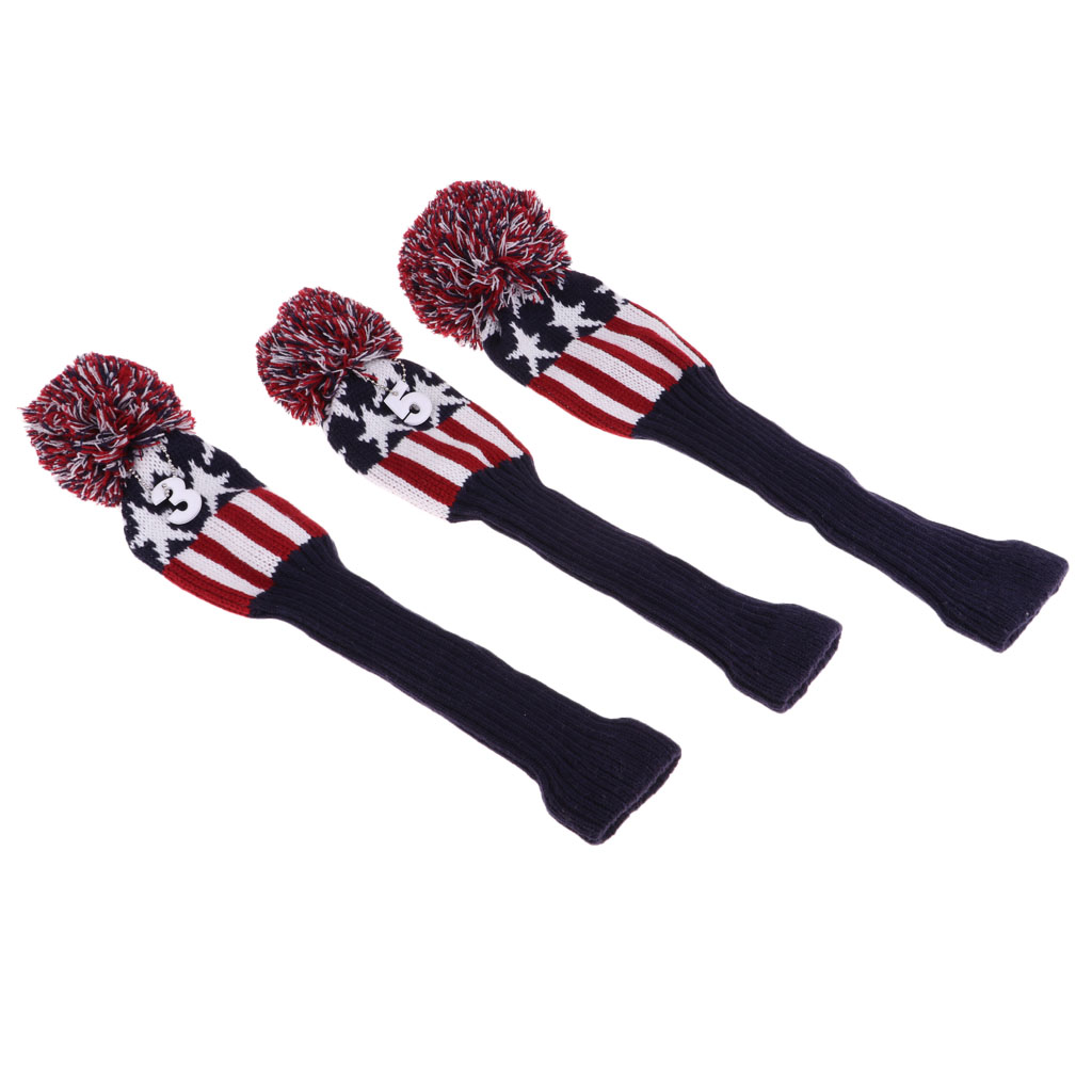 3pcs Golf Headcover Knitting Wool Covers Protective Hand Knit Durable Machine Washable