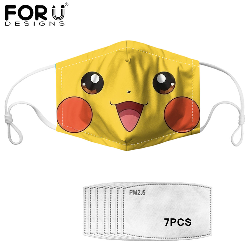 FORUDESIGNS Cute Anime Pokemon Pikachu Squirtle Face Printting  Mouth Cover Mask 7pcs PM2.5 Filter Germ Protection Mascher