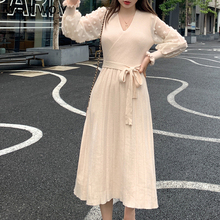 WOTWOY Autumn Ruffles Puff Sleeve Dress Women Casual  Vneck Belt Mid-Calf Straight Pleated Hem Female SweaterDress Clothes Women petal puff sleeve curved hem dress