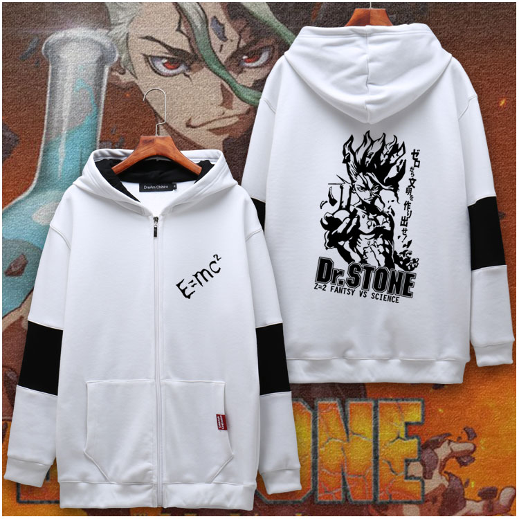 Anime Dr.STONE Ishigami Senku Cosplay Long Sleeve Hoodie Plush Hooded Unisex Coat Zipper Sweatshirt Autumn Winter Jacket