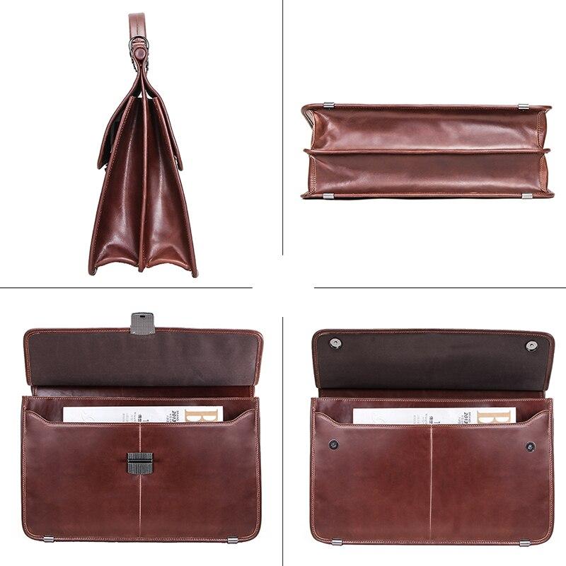 "Image 4 - CONTACTS Casual Men Laptop Bag for 15.6"" Business Men Briefcase Genuine Leather Messenger Shoulder Bags Male Tote Bag BolsasBriefcases   -"