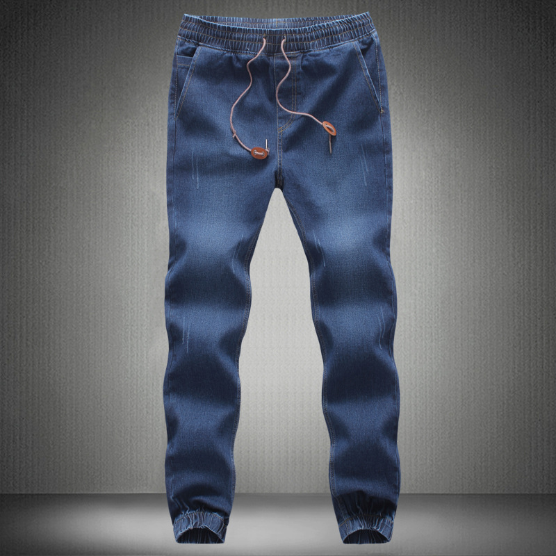 Hot Selling Closing Foot Jeans Men's Plus-sized Elastic Elasticity Ankle Banded Pants Korean-style Slim Fit Skinny Pants Fashion
