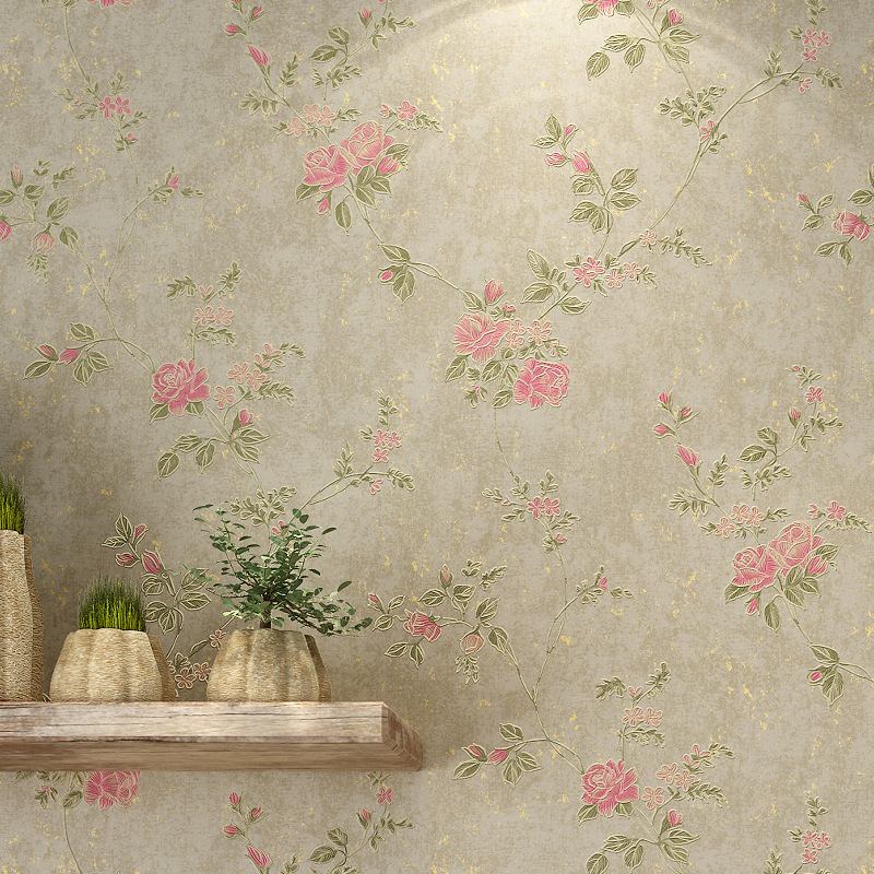 American Rustic Flower Floral Wallpaper Non-woven 3D Relief Embossed Wallpaper Retro Living Room Decor Contact Paper Wallcoverin