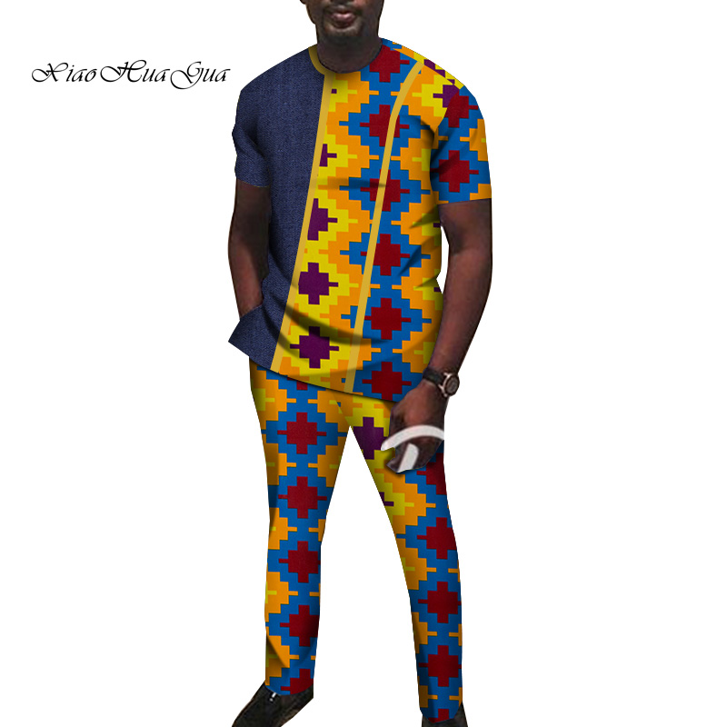2019 African Print Clothing O-neck Men African Suits Clothes Short Sleeve Traditional Men Suit Clothing Plus Size 6XL WYN930