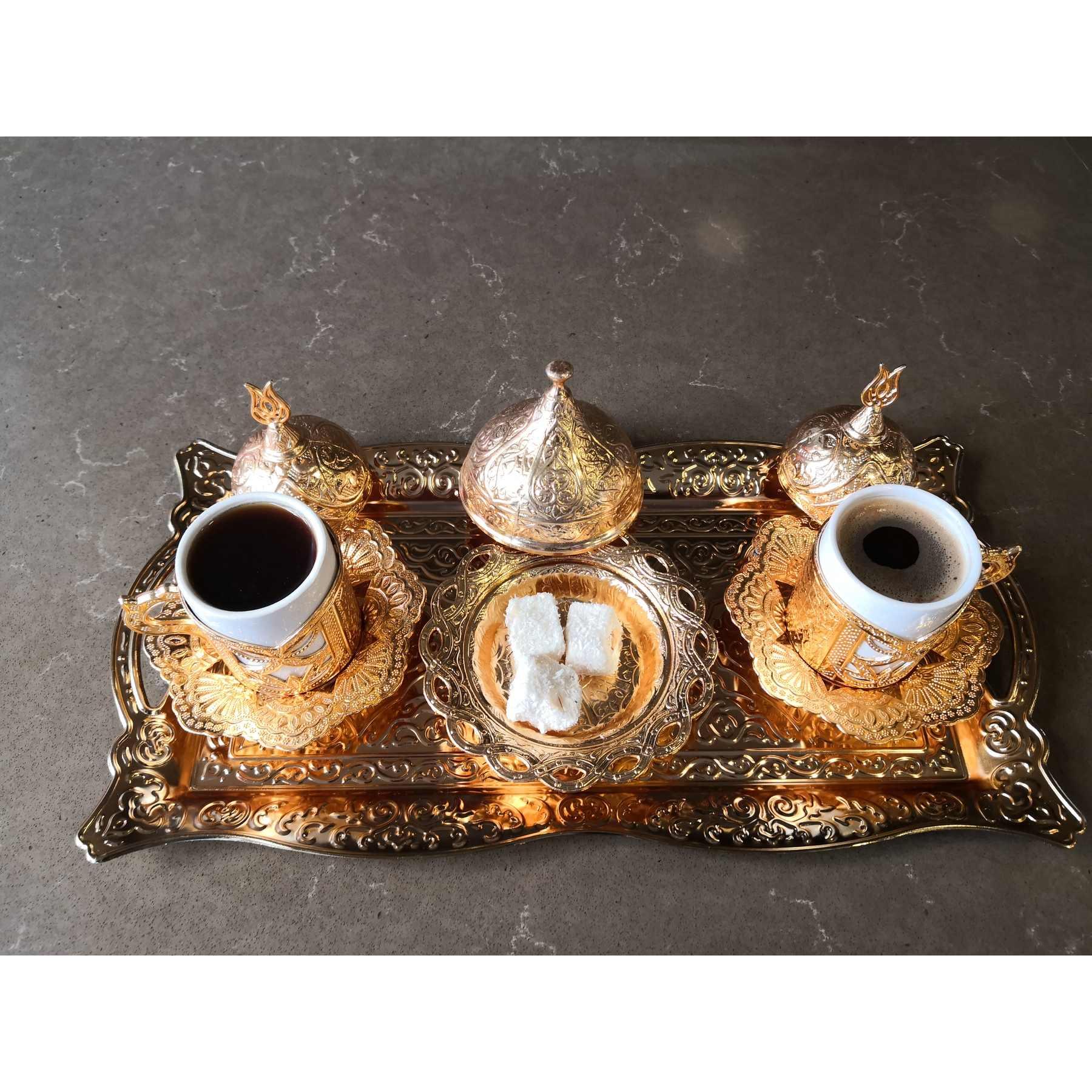 (9 PZ) Rame turco tè caffè espresso tazze set Anatolica Arabo tazze di caffè set Ottoman Tea Set MADE in Turchia