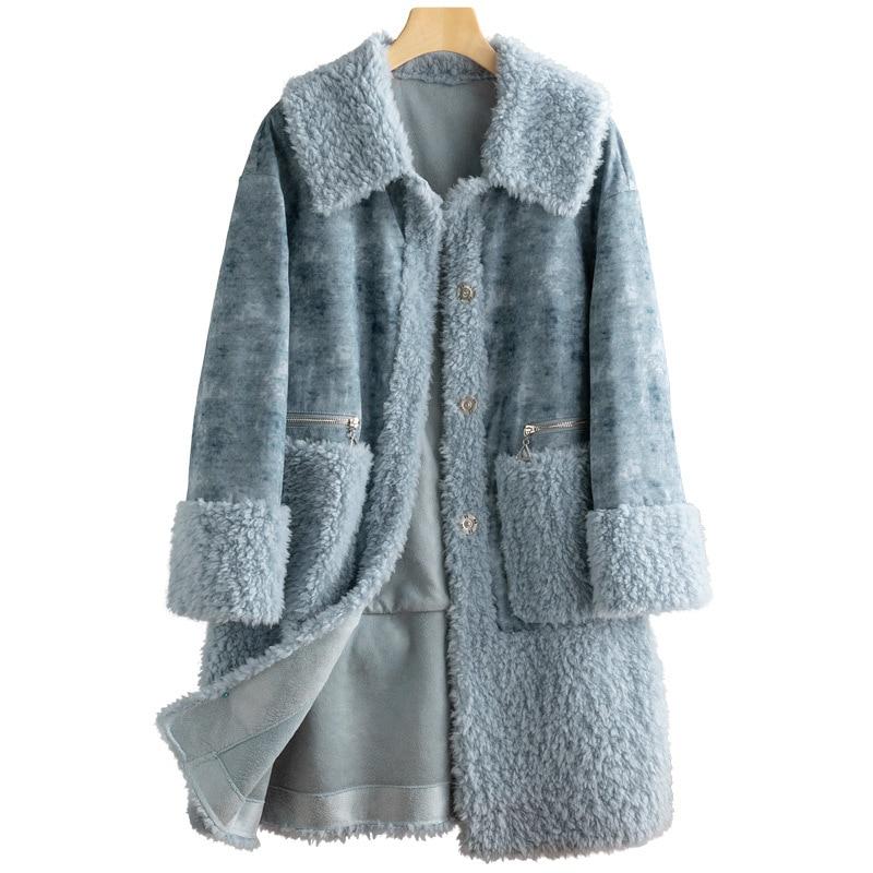 Real Fur Coat 100% Wool Jacket Autumn Winter Coat Women Clothes 2020 Korean Vintage Sheep Shearling Tops Suede Lining ZT3887