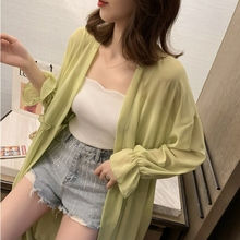 Women Summer Cardigan Solid Color Open Front Long Section Thin Horn Sleeve Chiffon Sun Protection Tops Beach Cardigan sweet solid color collarless long raglan sleeve cardigan for women