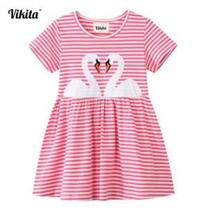 VIKITA-robes en coton pour filles | Tenues rayées pour enfants, dessin animé brodé, robe d'été pour filles à manches courtes