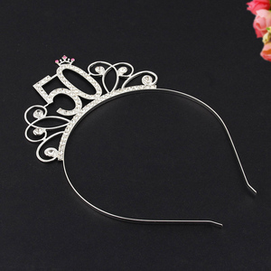Image 2 - 50 Birthday Party Crystal Tiara Crown Birthday Queen Headband Hair Accessories for Women Happy 50th Birthday Party Decorations