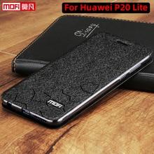 Flip מקרה עבור Huawei P20 לייט מקרה stand כיסוי עור huawei p20 lite כיסוי PU Mofi יוקרה סיליקון קאפה גליטר p20 טלפון מקרה