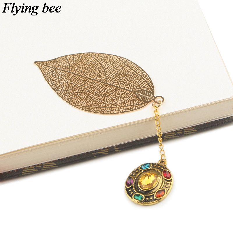 Flyingbee Leave Pendant Gem Metal Bookmarks Book Markers Page Holder For Books Stationery Gifts X0784