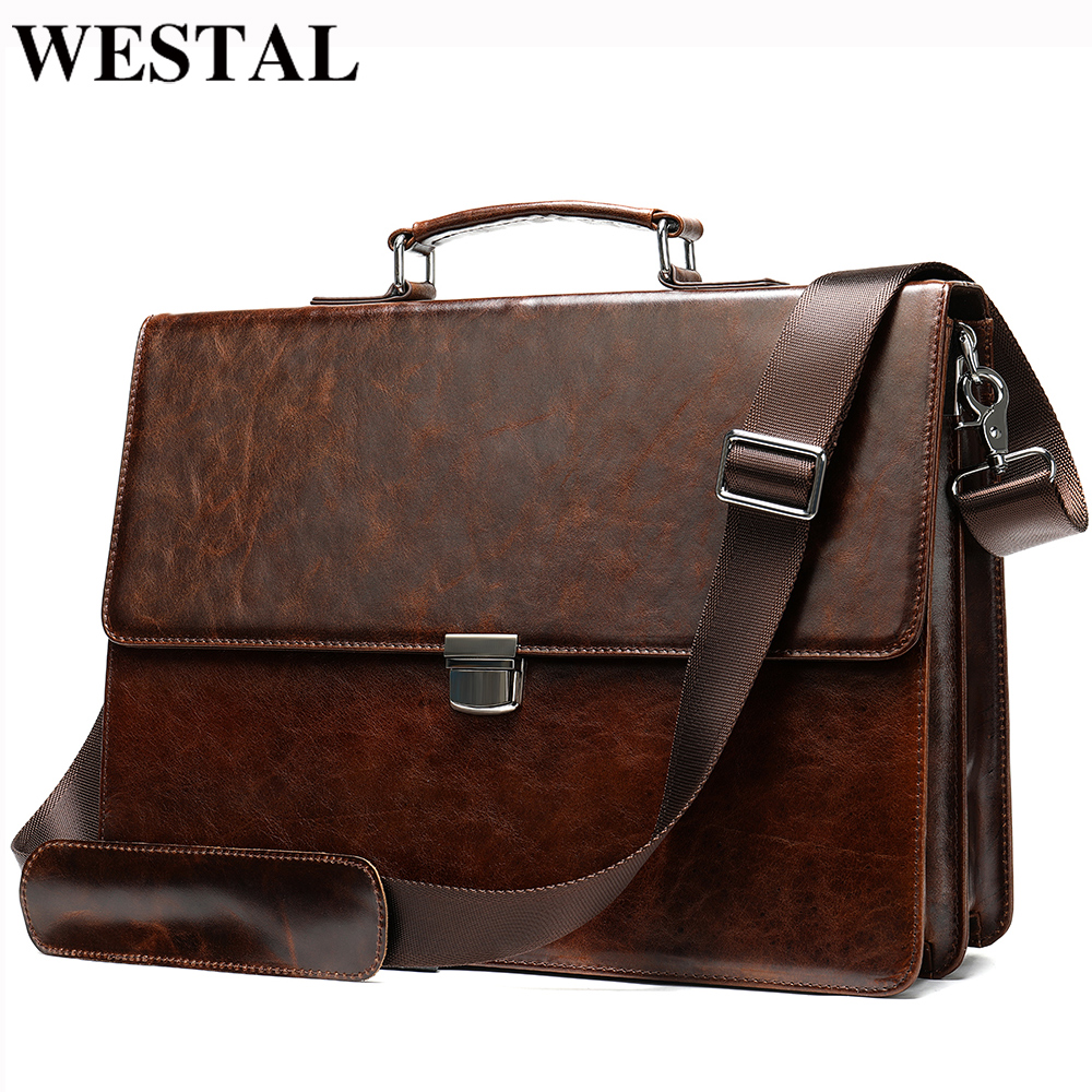 WESTAL Business Men Briefcases Men's Genuine Leather Bags For Document Lawyer Office Bags For Men Laptop Bag Leather Briefcases