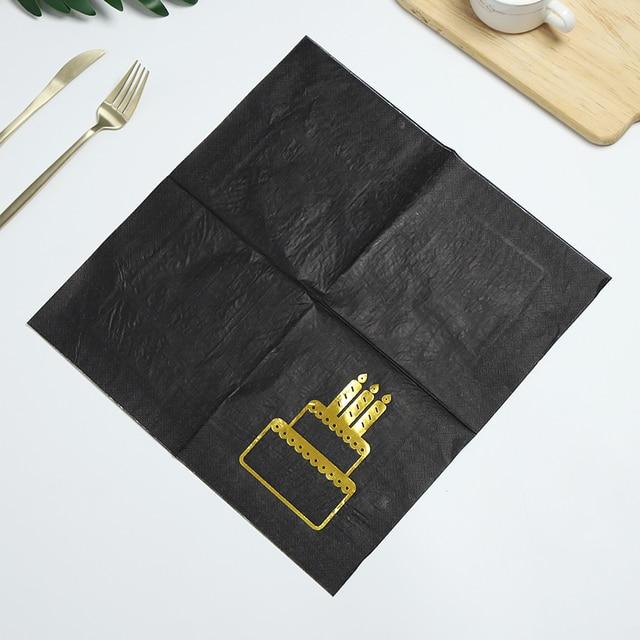 48 Uds 33*33cm negro de alta calidad de servilletas de papel con impresos cumpleaños boda compromiso aniversario bebé ducha partido suministros