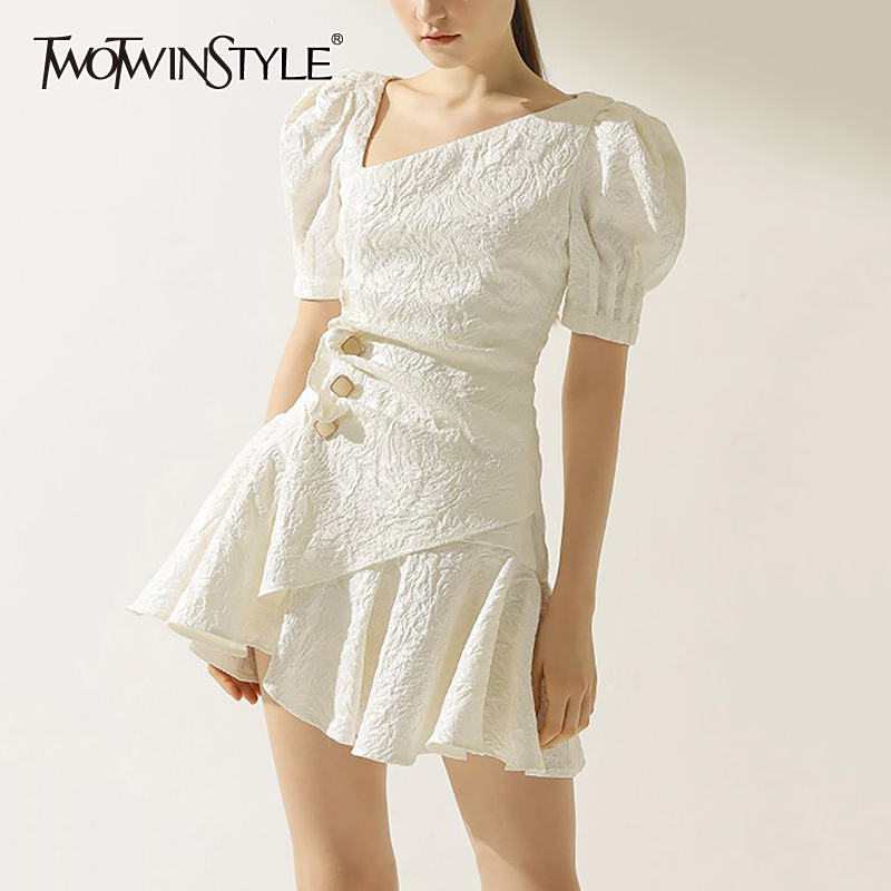 TWOTWINSTYLE Vintage Summer Dress Women Asymmetrical V Neck Puff Short Sleeve High Waist Ruched Mini Dresses For Female Fashion