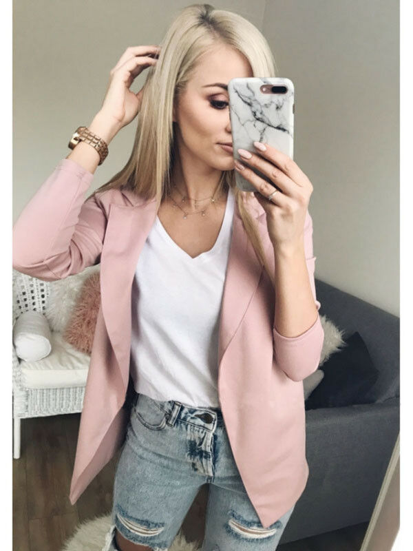 Vadim WomenThe Slim Casual Long Sleeve Blazer Feminino Women Vests Top Casual Dress Blazer Cardigan Jacket Open Stitch Zip -up