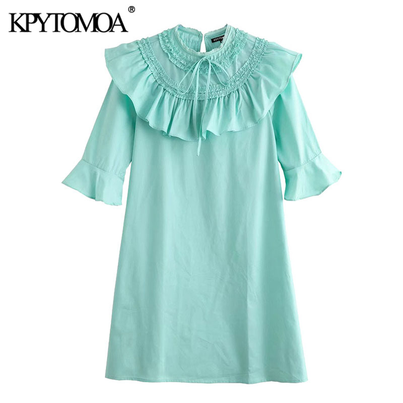KPYTOMOA Women 2020 Chic Fashion Ruffled Solid Mini Dress Vintage Tied O Neck Short Sleeve Female Dresses Vestidos Mujer